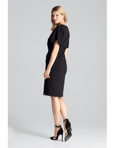 Sukienka midi z kopertowym dekoltem - czarna