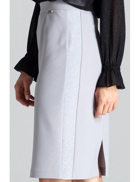 Klasyczna spódnica ołówkowa z rozcięciem - szara