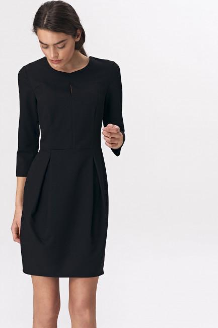 Sukienka mini tulipan z rękawem 3/4 - czarna