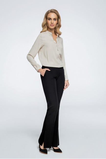Eleganckie spodnie z rozcięciami na nogawce - czarne