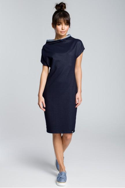 Bawełniana sukienka klepsydra - granatowa