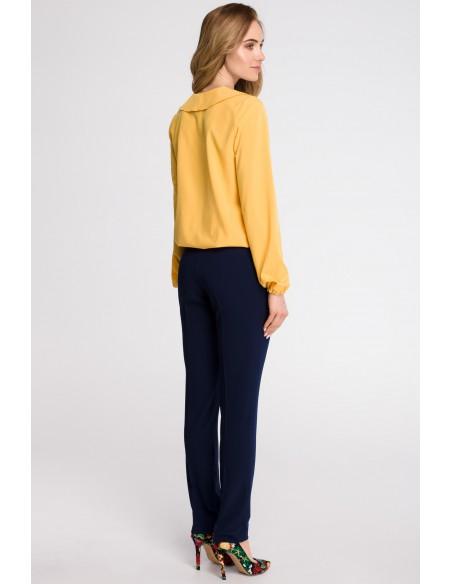 Bluzka z żabotem - żółta