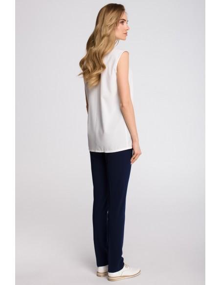 Bluzka bez rękawów zapinana na guziki - ecru