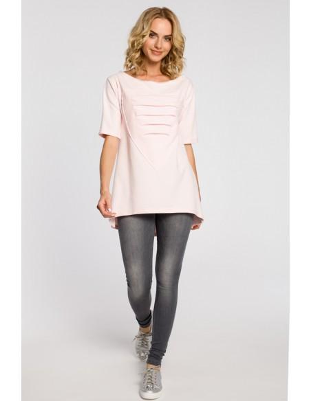 Dresowa bluza tunika serce - pudrowa
