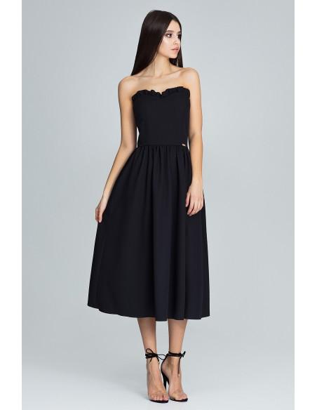 Elegancka sukienka bez rękawów - czarna