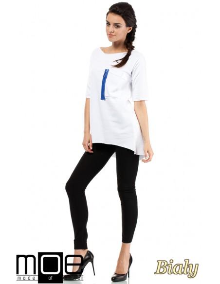 Sportowa bluza tunika zamek - biała
