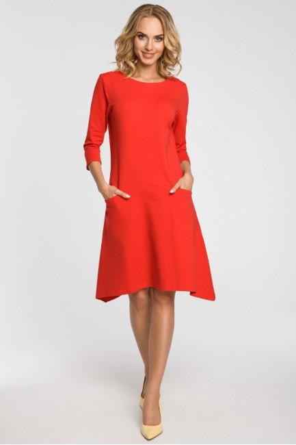Asymetryczna sukienka z obniżoną talią - czerwona