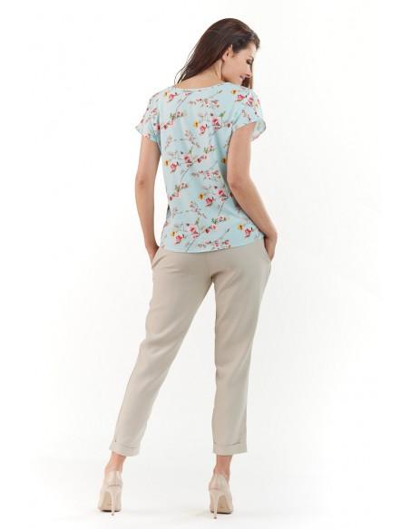 Klasyczna bluzka z krótkim rękawem - niebieska