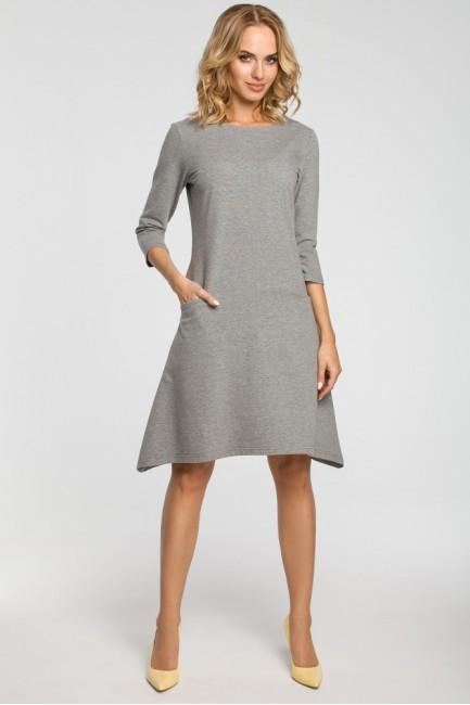 Asymetryczna sukienka z obniżoną talią - szara