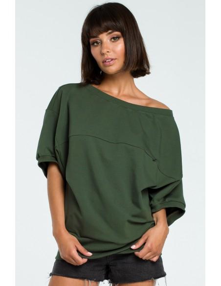 Bluza oversize z rękawem kimono - militarno-zielona