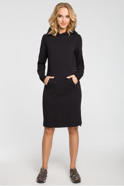 Dresowa sukienka kangurka - czarna