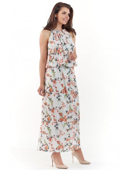 Sukienka maxi w kwiaty - ecru