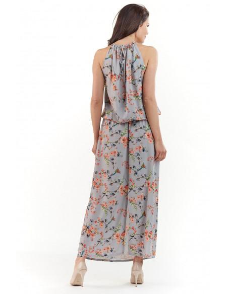 Sukienka maxi w kwiaty - szara