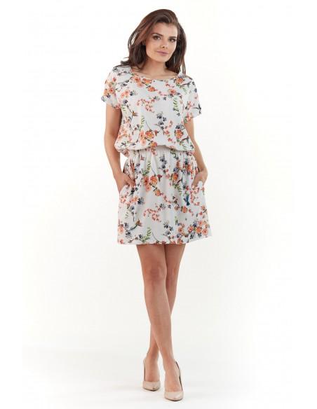 Sukienka mini z krótkim rękawem - ecru