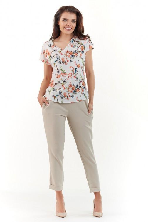 Bluzka w kwiaty z krótkim rękawem - ecru