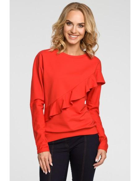 Damska bluzka z falbanką - czerwona