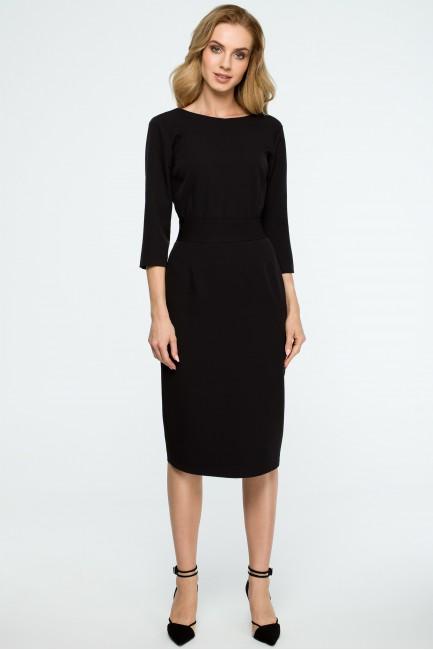 Gładka sukienka ołówkowa z paskiem - czarna