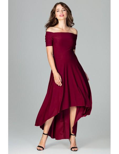 Asymetryczna sukienka wieczorowa z falbanami - bordowa