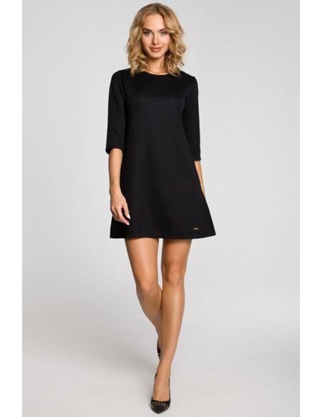 Gładka tunika sukienka trapezowa - czarna