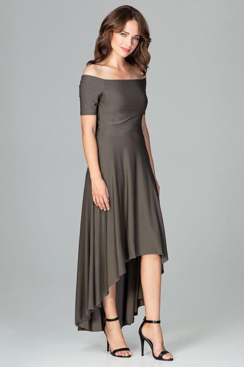 Asymetryczna sukienka wieczorowa z falbanami - oliwkowa