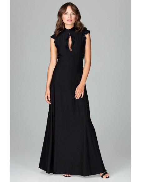 Rozkloszowana sukienka maxi - czarna