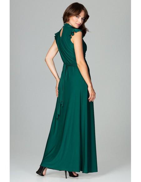 Rozkloszowana sukienka maxi - zielona
