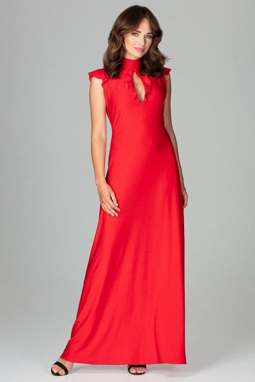 Rozkloszowana sukienka maxi - czerwona