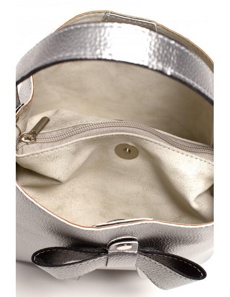Elegancka torebka z kokardką - srebrna