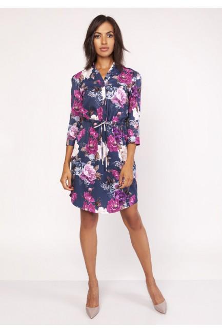 Sukienka midi z delikatną stójką - kwiaty