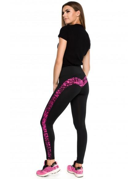 Gładkie sportowe legginsy z wysokim stanem i wstawką