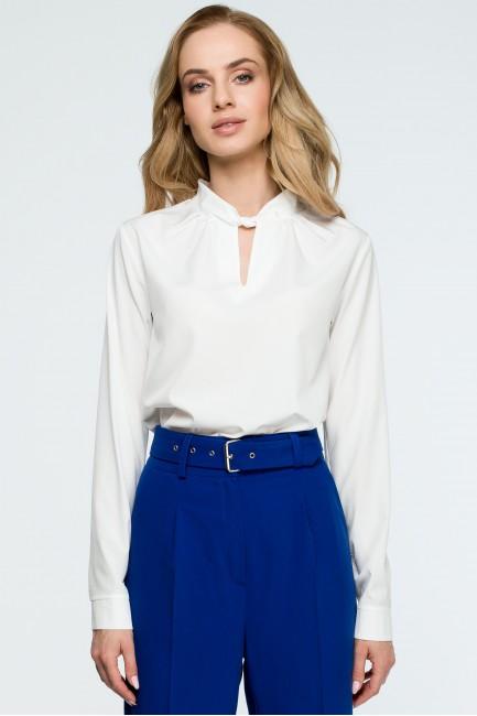 Gładka bluzka z długimi rękawami - ecru