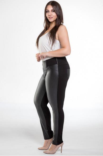 Dopasowane skórzane legginsy z kieszeniami plus size - czarne