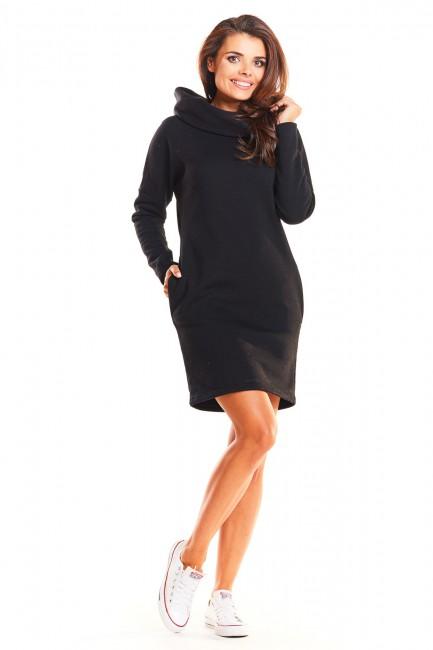 Dresowa sukienka z kapturem - czarna