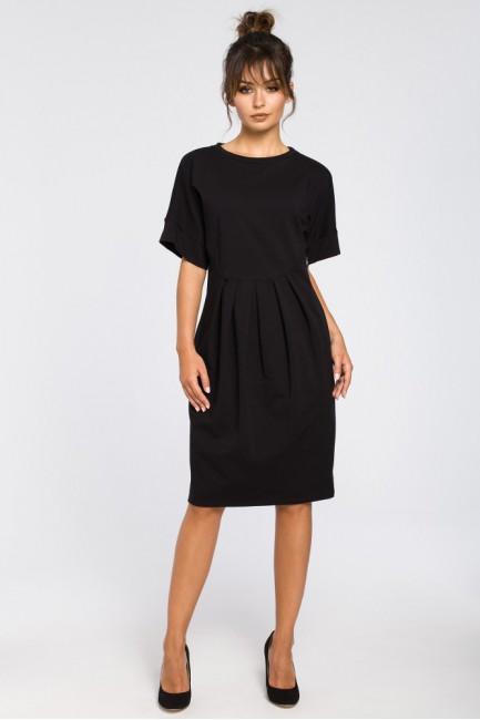 Dresowa sukienka z zakładkami - czarna