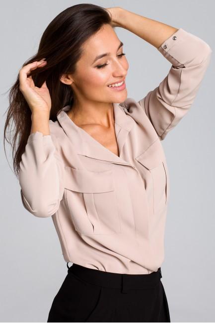 Luźna bluzka koszulowa - beżowa