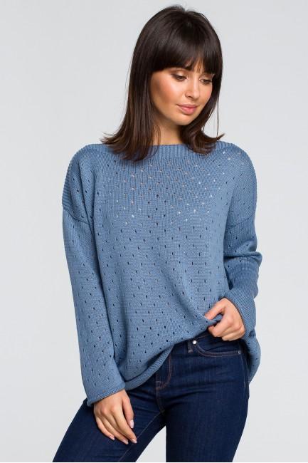 Sweter z oczkami - niebieski