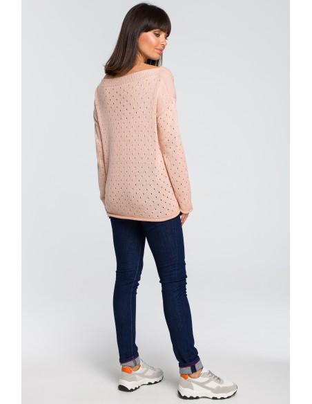 Sweter z oczkami - brzoskwiniowy