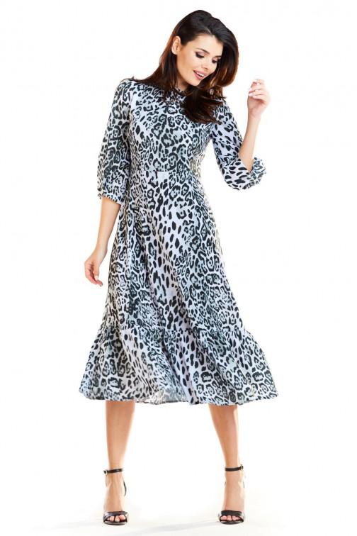 Sukienka midi z falbaną czarno biała