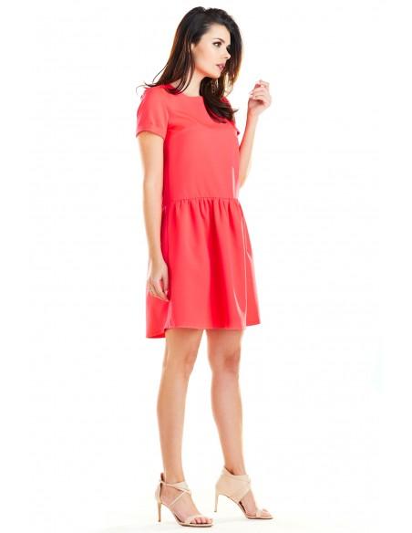Sukienka mini z odcięciem w talii - fuksja