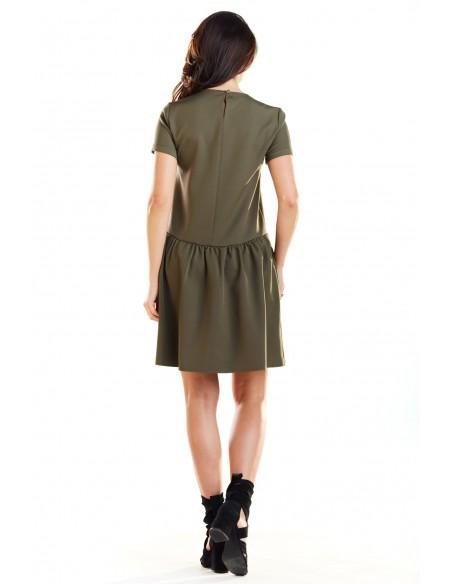 Sukienka mini z odcięciem w talii - khaki