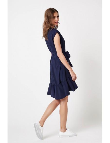 Wiązana w pasie sukienka mini - granatowa