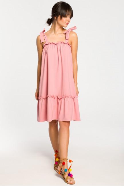 Sukienka na wiązanych ramiączkach - różowa