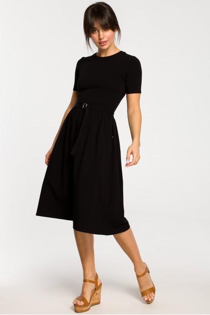 Sukienka z paskiem i klamerką - czarna