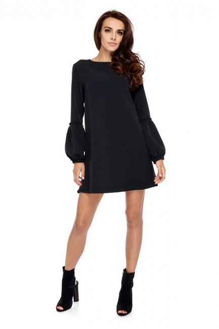 Stylowa sukienka z oryginalnymi rękawami - czarna