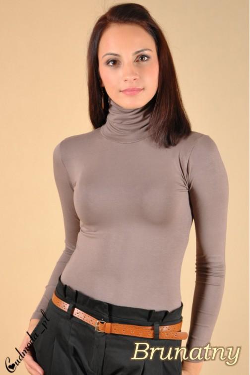 Gładki golf damski z długim rękawem - brunatny