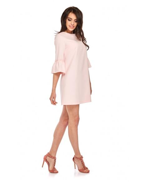 Sukienka mini z rękawami wykończonymi falbanką - różowa