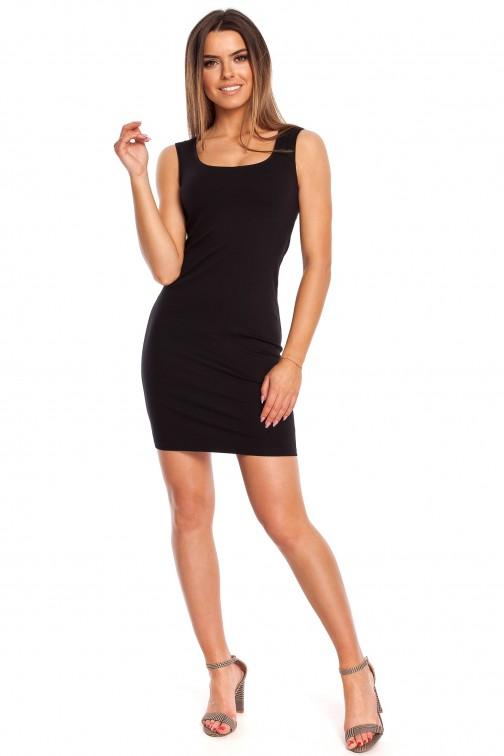 Dopasowana sukienka mini na ramiączkach - czarna