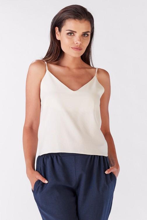 Niezwykła bluzka damska z wiązaniem na plecach - ecru