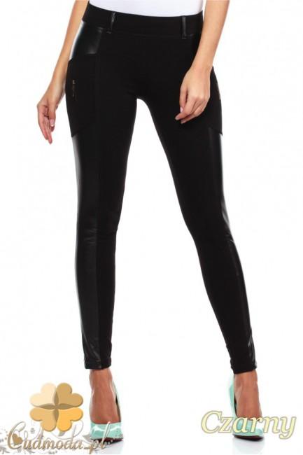 Legginsy spodnie z zameczkami i wstawką ze skóry - czarne