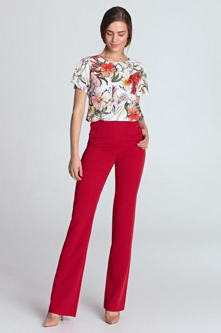 Spodnie z wysokim stanem - czerwone